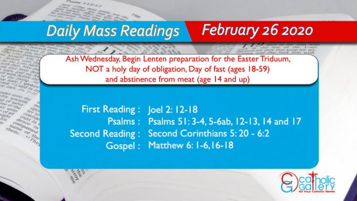 Daily Mass Readings - 26 February 2020 - Wednesday