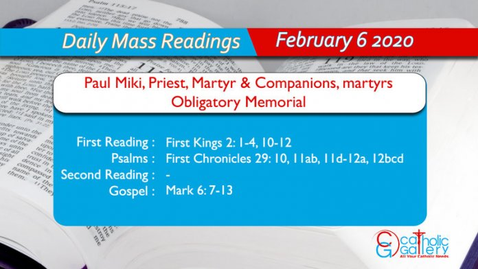 Daily Mass Readings - 6 February 2020 - Thursday