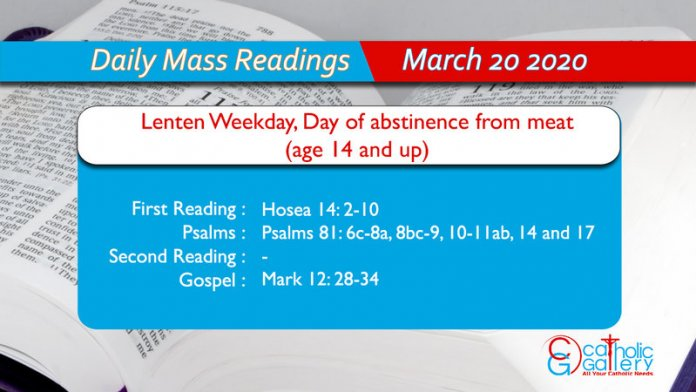 Daily Mass Readings - 20 March 2020 - Friday