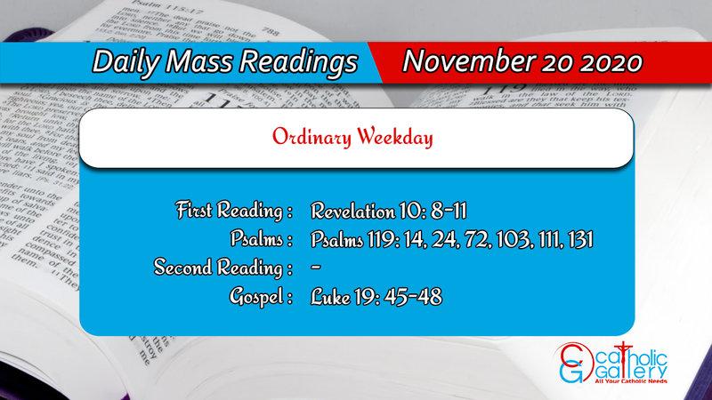 Catholic Online Daily Mass Readings 20th November 2020