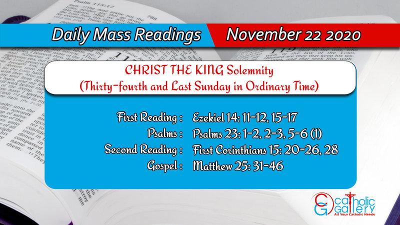 Sunday Catholic Online Daily Mass Readings 22nd November 2020