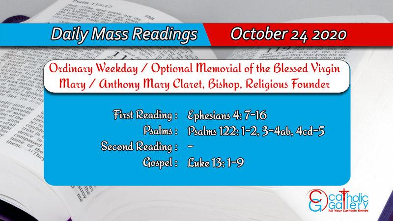 Catholic Daily Mass Readings 24th October 2020