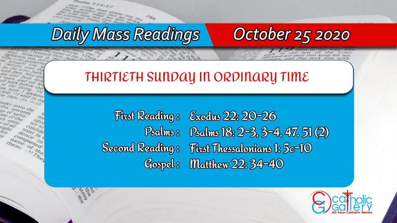 Sunday Catholic Daily Mass Reading Today 25th October 2020
