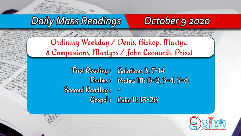 Catholic Daily Mass Readings 9th October 2020 Today Friday