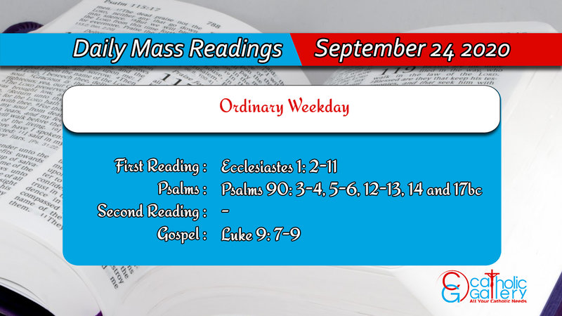 Catholic Daily Mass Readings 24th September 2020 Thursday