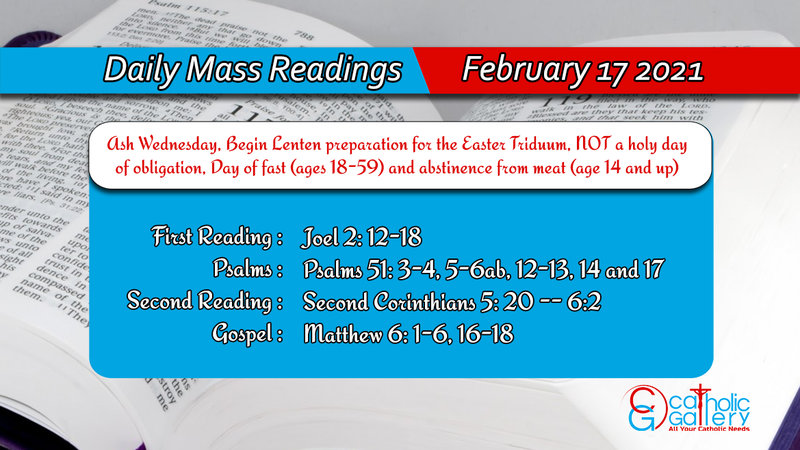 Catholic Daily Mass Readings Online for Wednesday 17th February 2021