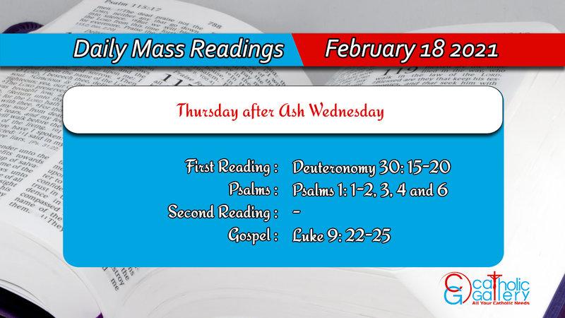 Catholic Daily Mass Readings Online for Thursday 18th February 2021