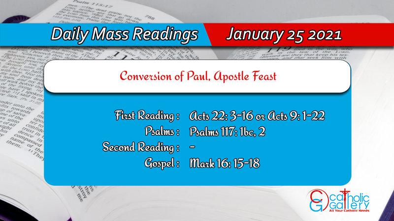 Catholic Daily Mass Readings 25th January Today Online