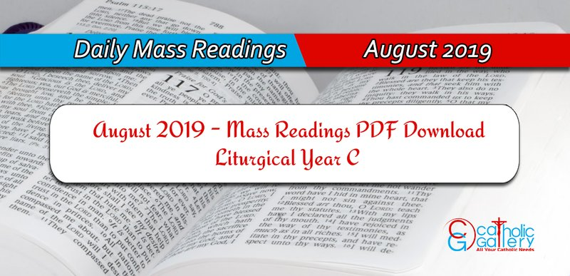 Download Mass Readings - August 2019 - Catholic Gallery